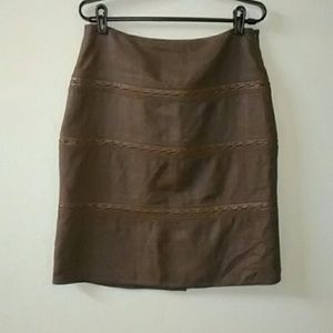 Etcetera Leather and Silk Pencil Skirt Sz 6